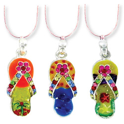 Crystal Colored Flip-Flop Necklaces