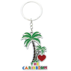 I LOVE THE CARIBBEAN PALM TREE KEYCHAINS