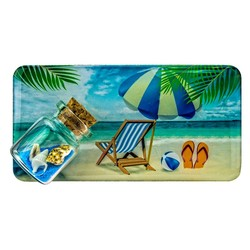 Beach Chair Sand and Shell Bottle Magnet