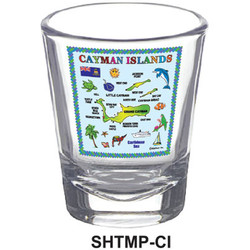 CAYMAN ISLANDS MAP SHOT GLASSES