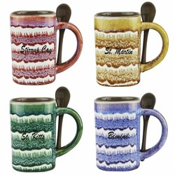 GLAZED CERAMIC SPOON MUGS. 16 Oz.