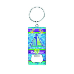 Metallic Bottle Opener Keychain Sailboat