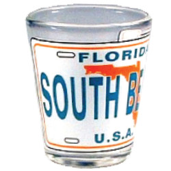 Florida South Beach License Plate Shot Glass
