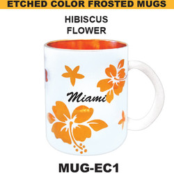 HIBISCUS Etched Color Frosted Mug