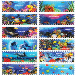 OCEAN GLAZED PANORAMIC STAMP MAGNETS