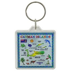 THE CAYMAN ISLANDS MAP, Acrylic Foil Keychain