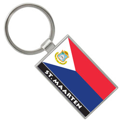 St. Maarten Flag Rectangle FOIL KEY CHAIN