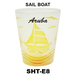 SAIL BOAT etched shot glasses