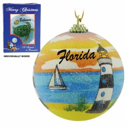 LIGHTHOUSE FROSTED CHRISTMAS ORNAMENTS