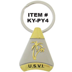 PALM TREE PEWTER PYRAMID KEYCHAIN