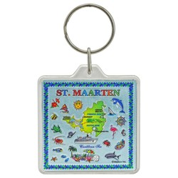 St. Maarten Map Acrylic Foil Key Chain