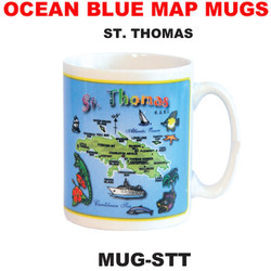 St Thomas Ocean Blue Map Mug