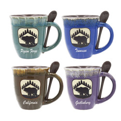Glazed Ceramic Spoon Mugs Bear