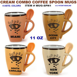 Cream Combo Coffee Spoon Mugs