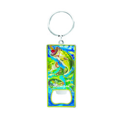 Metallic Bottle Opener Keychain Bass