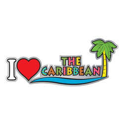 I LOVE THE CARIBBEAN ENAMEL NEON MAGNET