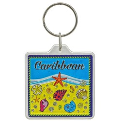 THE CARIBBEAN, Sea Shells Acrylic Foil Keychain