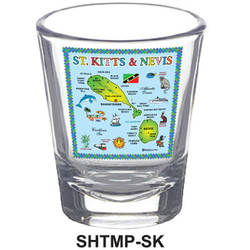 ST. KITTS MAP SHOT GLASSES