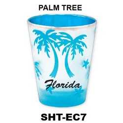 PALM TREE etched color shot glasses