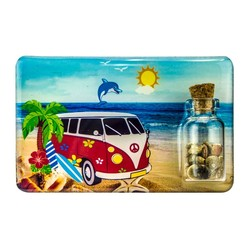 VW Surf Van Sand and Shell Bottle Magnet