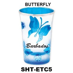 BUTTERFLY etched color tapered shot glasses