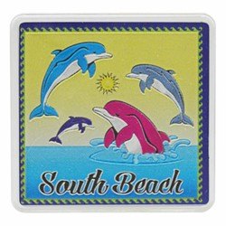 South Beach DOLPHINS Acrylic Foil Magnets