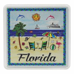Florida BEACH SCENE Acrylic Foil Magnets