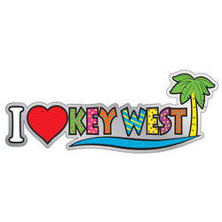I LOVE KEY WEST ENAMEL NEON MAGNET