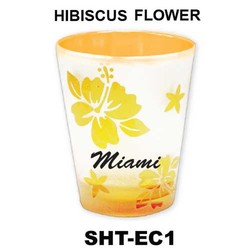 HIBISCUS FLOWER etched color shot glasses