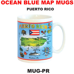 Puerto Rico Ocean Blue Map Mug