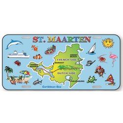 St. Maarten Map Souvenir License Plate
