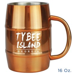 Stainless Steel Barrel Mug. 16 Oz.