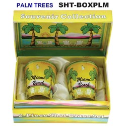 PALM TREES SOUVENIR SHOT GLASS GIFT SET
