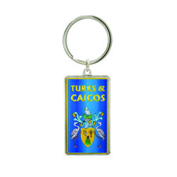 Metallic Double Sided Turks & Caicos Keychain