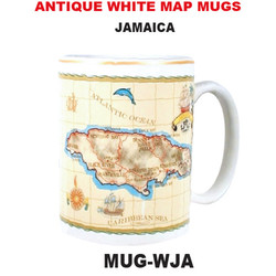 Jamaica Antique White Map Mug