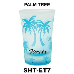 PALM TREE etched tapered shot glasses