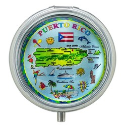 Puerto Rico Map Glass Top Pill Box
