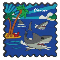 SHARK PVC STAMP MAGNETS