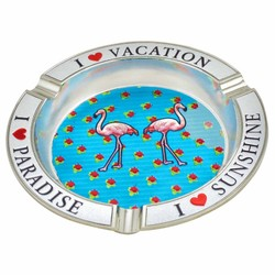 Flamingos Metal Foil Ashtray