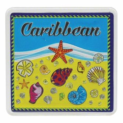 The Caribbean SEA SHELLS Acrylic Foil Magnets