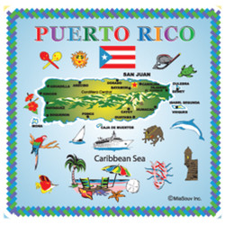 Puerto Rico Map TILE Magnet