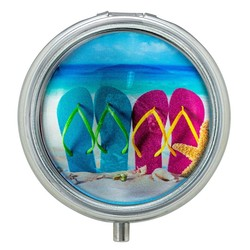 Flip Flops Glass Top Pill Box