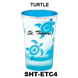 TURTLE etched color tapered shot glasses