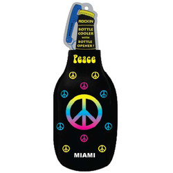 PEACE SIGN BLACK BOTTLE COOLER