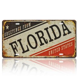 Greetings From Florida, USA, Souvenir License Plate