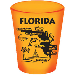 Florida Map NEON Shot Glass