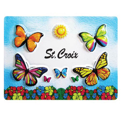 BUTTERFLY EMBOSSED RUBBER MAGNET