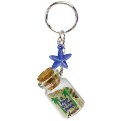 SEA STAR DANGLING SAND FILLED KEYCHAINS