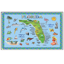 FLORIDA State Map METAL Rectangular Magnet