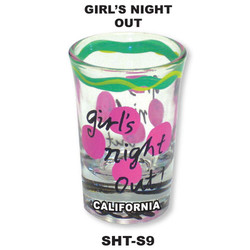 GIRL'S NIGHT OUT. Hand Painted Shot Glass.